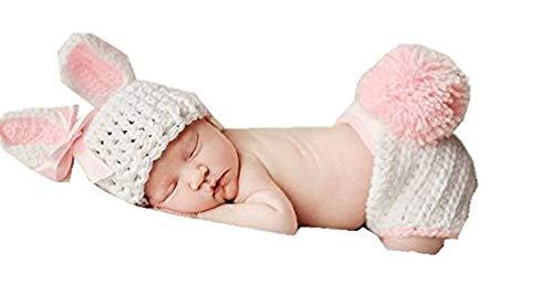 Gehäkeltes Babyoutfit für Neugeborene, Kaninchen-Design in Rosa, Foto-Requisite