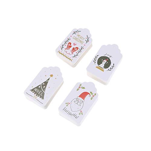 ULTNICE 204Pcs Weihnachtsgeschenkanhänger Kraftpapier Noël Santa Weihnachts Hängen Etiketten Vintage Lesezeichen Tag DIY Urlaub Geschenk Wrap-Karte für Weihnachtsbaum Hängen Ornament