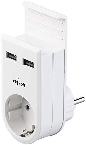 revolt Handyladegerät: Steckdose mit Doppel-USB-Netzteil & Smartphone-Ablage, 3,4 A/ 17 Watt (Handy Laden)