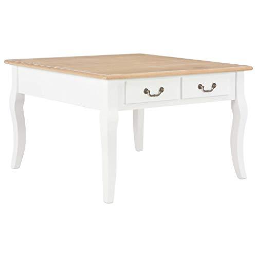 Lasamot Mesa de café Mesa de salón Mesa para Laptop Mesa Auxiliar para sofá para Sala de Estar Dormitorio Madera café y Blanco 80 x 80 x 50 cm