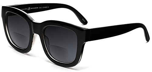Bifocal Reader Sunglasses Marlene Dietrich Reading Glasses Shiny Black 2.00 Power (Medium Frame)