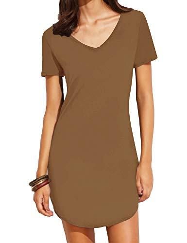 Haola Women's Casual Tops Dress Short Sleeve Shirts Dresses Juniors Dress Tops S Coffee