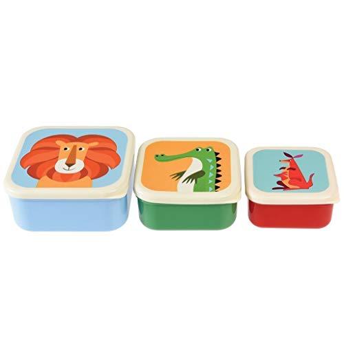 Rex Londen Bentobox/broodtrommel Colourful Creatures. 3-delige set: leeuw, krokodil, kangoeroe.