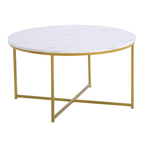 Unique Nice Modern Style White Metal Round Sofa Side End Table Marble Top Entryway Shelf US Accent Space Saver