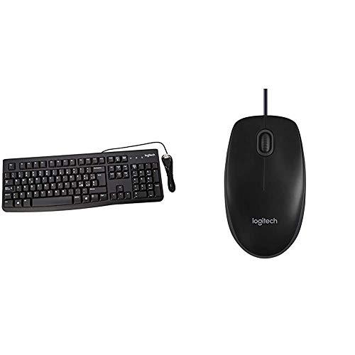 Logitech K120 Tastiera Cablata Business per Windows Linux, USB, Tasti Silenziosi & B100 Mouse USB Cablato, 3 Pulsanti, Rilevamento Ottico, Ambidestro, PC Mac Laptop, Nero
