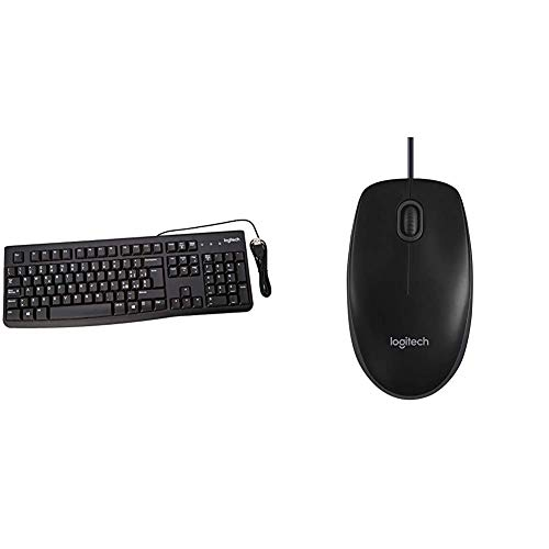 Logitech K120 Tastiera Cablata Business per Windows/Linux, USB, Tasti Silenziosi & B100 Mouse USB Cablato, 3 Pulsanti, Rilevamento Ottico, Ambidestro, PC/Mac/Laptop, Nero