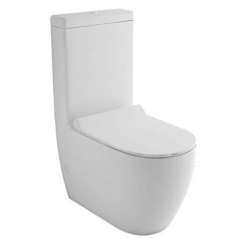 Stand-Dusch-WC + Spülkasten + GEBERIT Spülgarnitür + Abnehmbarer WC-Sitz mit Absenkautomatik | Komplett Set | Integrierter Taharet-Bidet Funktion | Ablauf Waagerecht und Senkrecht