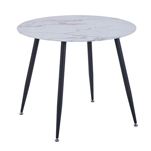 GOLDFAN Round Marble Glass Dining Table Modern High Gloss Kitchen Table with Chrome-plated Legs for Dining Room, Black