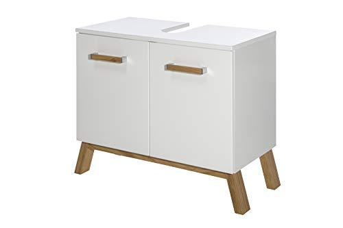 Schildmeyer 2 türiger Waschbeckenunterschrank, Holz, weiß Glanz, 65x35x61 cm
