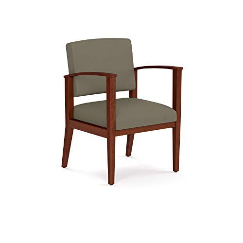 OfficeSource Chelsea Designer Office Guest Arm Chair, Cherry Finish, Taupe Upholstered, Sold Wood Frame, Reception, Waiting Rooms (1600CHTAU)