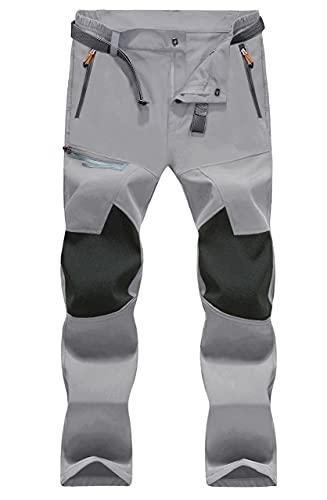 MAGCOMSEN Pantalon fonctionnel pour homme - Pantalon de randonnée - Respirant - Léger - Coupe-vent - Softshell - Séchage rapide - Avec poches - Gris clair - 34