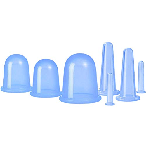 EXCEART 7Pcs Visage Corps Ventouses Massage Silicone Ventouses à Vide pour Les Rides Anti Cellulite Corps Tasse avec Sac (Bleu)