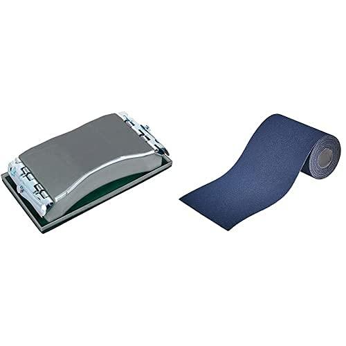 Wolfcraft 2891000 2891000-1 Bloque De Lijar Manual, Plata + 3171000 - Rollo Papel Abrasivo, Grano 60, 5 M X 93