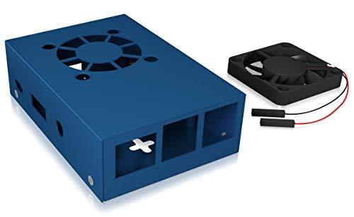 Icy Box Raspberry Pi 3 behuizing, volledig van aluminium, 2 koelelementen, wandmontage mogelijk, zwart Met ventilator blauw