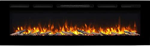 """RICHEN Elektrokamin Fiamma - Elektrischer Einbaukamin (173 cm / 68"""") Mit Heizung, LED-Beleuchtung, 3D-Flammeneffekt & Fernbedienung - Schwarz"""