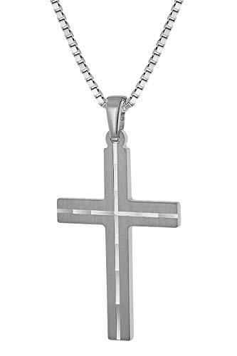 trendor Herren-Halskette mit Kreuz-Anhänger Silber Kreuz Kette Herren, Kreuz Anhänger Silber 925, modische Geschenkidee, zeitloser Herrenschmuck 63836