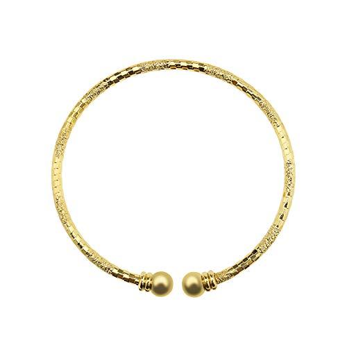 Create idea Pulsera chapada en oro de 24 quilates, longitud ajustable de 6 a 6,2 cm, para mujer, para boda, cumpleaños, aniversario, Navidad
