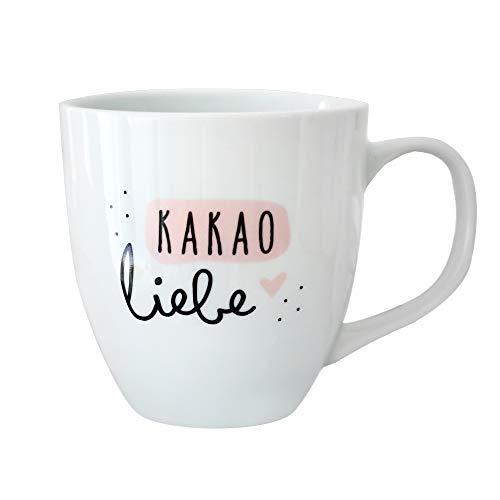 Odernichtoderdoch Jumbo-Tasse | Kakaoliebe | Porzellan - 400 ml Volumen - weiß und rosa - mit Henkel