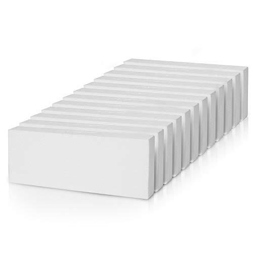 Belle Vous Placas Poliestireno (Pack de 12) - Corcho Blanco para Manualidades (30 x 10 x 2,5cm) - Placas Porexpan Rectangular para Manualidades, Bricolaje, Decoración Bodas, Baby Shower