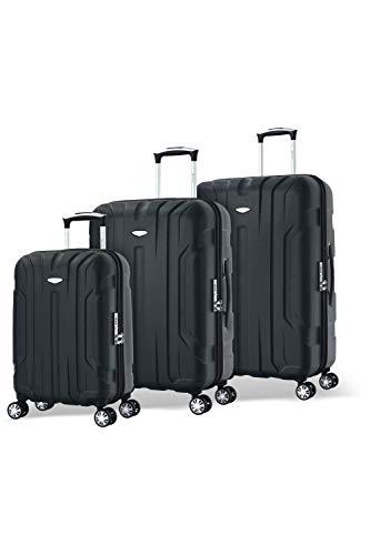 Eminent Set di valigie X-tec Set 3 pezzi valigie rigide & leggere Superficie anti-graffio 4 Ruote doppie Lucchetto TSA Nero