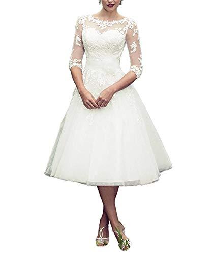 Tianshikeer Hochzeitskleid Kurz Spitze Tüll 3/4 Arm Knielang Brautkleider