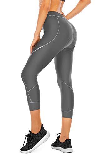 4ucycling Damen Fahrradhose, 3D-Polsterung, atmungsaktiv, UPF 50, Damen-Laufhose, Caprihose - - Groß