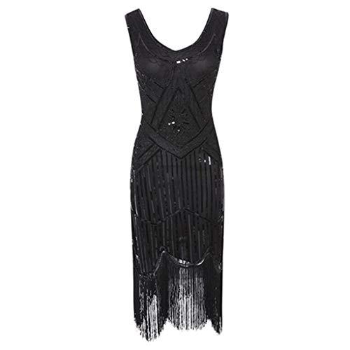 Vintage Paillettenkleid Damen 1920er Jahre Kleid,Flapper Tassel Great Gatsby Abendkleider Party Cocktailkleid URIBAKY