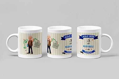 Taza de Desayuno Personalizadas y Divertidas para Los Abuelos. -Aquí Bebe el Mejor Abuelo del Mundo.- Taza Decorativa para Regalo Original y Divertido con Caja. (11oz) 350 ml. (Pelo Blanco)