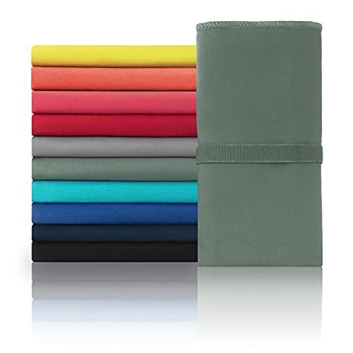 Blumtal Mikrofaser Handtuch Set - Handtücher, Ultra leicht, kompakt & schnelltrocknend, 180 x 90cm & 80 x 40cm, dunkelgrün