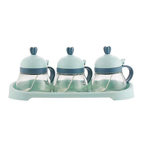 Zhi Zhi Caja de condimentos de Vidrio Caja de Sal de Sales Condimado Contenedores de Aceite de Aceite Caja de Almacenamiento Cruet combinación empaquetada Tres Grupos (Color : Light Green)