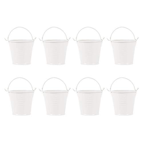 NUOBESTY 8 Piezas Mini Cubos de Metal Cubos de Hojalata Cubos de Dulces Cubo de Hielo Maceta Florero Regalo para Boda Cumpleaños Día de San Valentín Fiesta Decoración de Mesa (Beige)