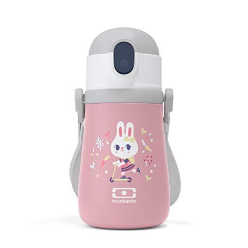 monbento - Brotdose Einhorn Kinder mit Trennwand - Bento Box Kids mit Fächer - Individuell Gestaltbar - Snack Box (Isotherme Flasche Kinder, rosa Bunny)