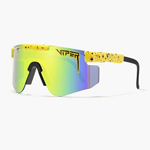 Tletiy Gafas De Sol Deportivas Polarizadas A Prueba De Viento Unisex Ciclismo Tr90 Marco UV400 Gafas De Sol Pit-Viper para Exteriores Doble Ancho Protección De Ciclismo para Hombre