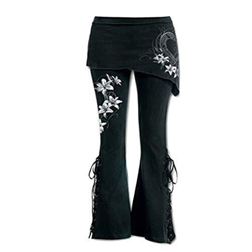 NOBRAND Pantalones sueltos para mujer, color negro, bordados, informales, llamaradas, punk, con cordones, cintura elástica, pantalones vaqueros de cintura alta