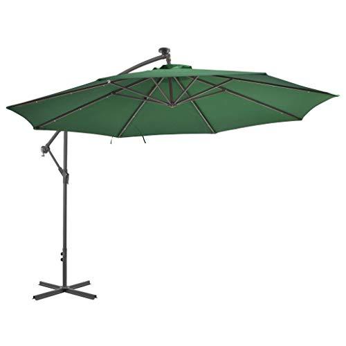 Tidyard Zweefparasol met LED-Verlichting En Metalen Paal Parasol Voor Buiten 350 cm Groen