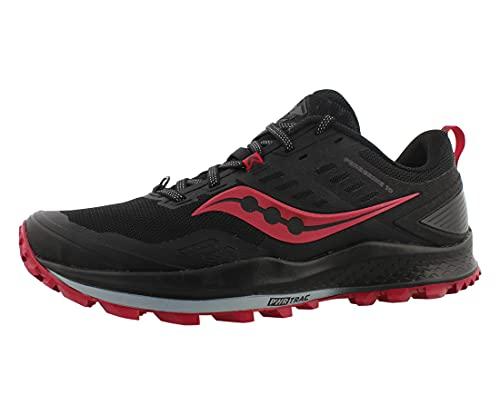 Saucony Women's Peregrine 10 Trail Running Shoe, Black | Barberry, 5 M US
