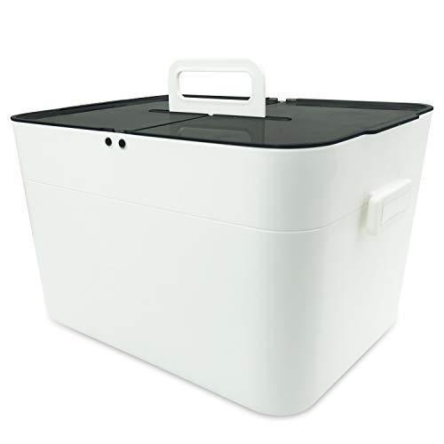 Medizinbox Plastik Erste Hilfe Box, Aufbewahrungskasten Medizin Box, 2 Ebene Medizinkoffer Erste Hilfe Koffer Multifunktions Aufbewahrungsbox mit Tragegriff | 29x20.5x18cm