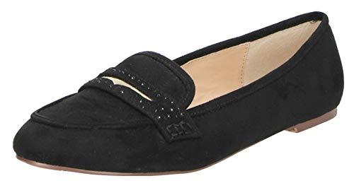 Fitters Footwear That Fits Damen Ballerina Alena Microfibre Mokassin Loafer Slipper Übergröße (43 EU, schwarz)