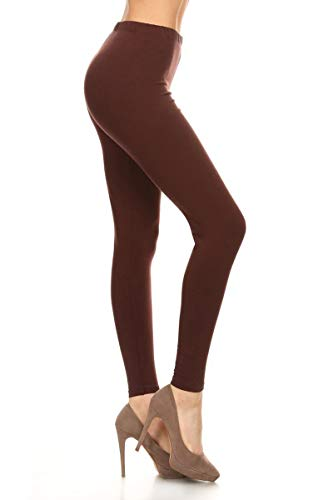 LDX128-Brown Basic Solid Leggings, Plus Size