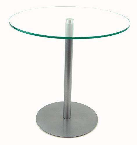 freeroom24 Beistelltisch, Tisch, Couchtisch Ella in Silber Brillant, Ø50cm, Verschiedene Höhen (Ø50cm, Verschiedene Höhen, 50)