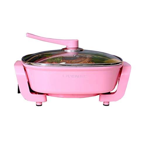 GJJSZ Elektrischer Hot Pot für den Haushalt Multifunktionaler Grilltopf Elektrischer Wok Hot Dish Einteiliger Kleiner elektrischer Topf Elektrische Pfanne Antihaft-Topf 5L (Farbe:Grün)