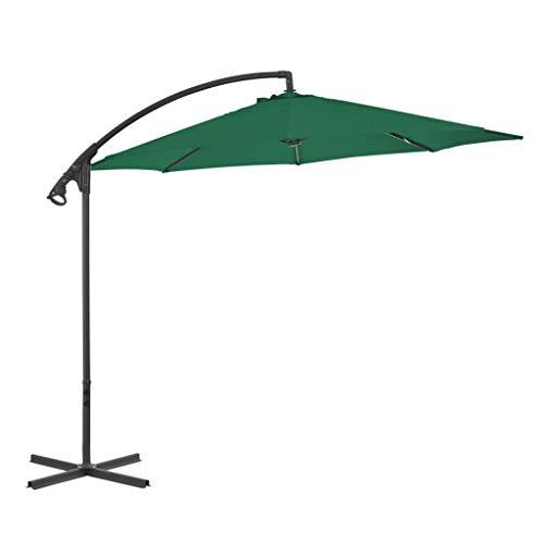 CHHD Garden Parasols Cantilever Umbrella with Steel Pole 300 cm Green Home Garden Lawn Garden Outdoor Living Outdoor Umbrellas Sunshades