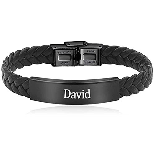 UnderTheRose Custom Mens Bracelet Personalized Black Braided Leather Bracelets Engraved Name Bracelets for Men Customized ID Cuff Wristband Gift for Dad Husband Boyfriend