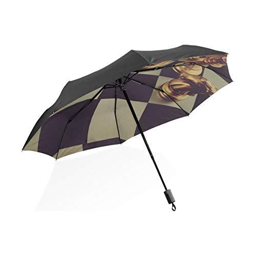 Paraguas invertido Grande Tablero de ajedrez a Prueba de Viento con Piezas...