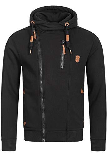 Indicode Herren Elm Kapuzensweatjacke | Hooded Jacket Kapuzenjacke Hoodie mit Reißverschluss Kapuzenpullover mit Zipper Sweatjacke mit Kapuze Kapuzensweatshirt für Männer Black XL