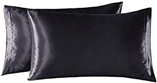 EXQ Home Satin Pillowcases Set of 2 for Hair and Skin Queen Size 20x30 Black Pillow Case with Envelope Closure (Anti Wrinkle,Wash-Resistant)