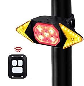 SASKATE - Luz intermitente para bicicleta, luz trasera de advertencia de seguridad, resistente al agua, recargable por USB, con luz de control remoto inalámbrica