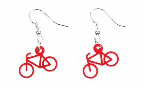 Miniblings Fahrrad Ohrringe Hänger Rad Rennrad Bike Radsport Sport Acrylglas rot - Handmade Modeschmuck I Ohrhänger Ohrschmuck versilbert