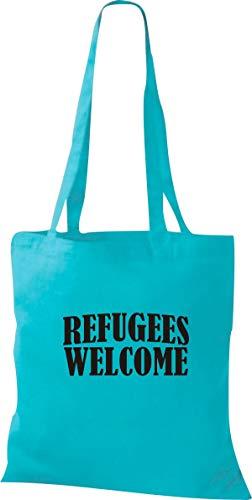 Shirtstown Stoffbeutel, Refugees Welcome, Flüchtlinge willkommen, Bleiberecht, Spruch Sprüche, Tasche Beutel, Jute, Shopper, einkaufen Logo Motiv, Farbe Sky