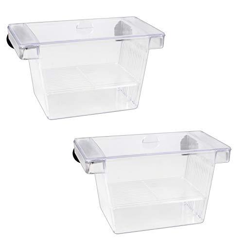 Huayue 2 Set Fisch Ablaichkasten Aquarium Aufzuchtbehälter Kunststoff Fisch Zucht Isolation Box Schwimmende Laichkasten Ablaichkasten Brutkasten Zuchttanks Breeding Box mit 4 Saugnäpfe (Transparent)